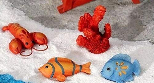 NIBOMID - Outdoor Ornaments, Statues Fairy Garden Supplies for Lobster Coral Fish Stepping Stones Set 4 Miniature Fairy Gnome Garden GI 706098 DIY for Miniature Fairy Garden Accessories