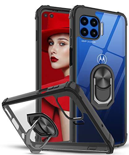 LeYi Funda Motorola Moto G 5G Plus,Transparente Carcasa con 360 Grados iman Soporte Silicona Bumper Antigolpes Armor Case para Movil Moto G 5G Plus,Clear Negro