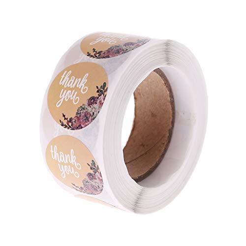 """LLLucky 500 Pcs 1""""Pouce Merci Autocollant Naturel Kraft Étiquettes Adhésives Rouleau Décorations Rondes pour La Fête De Mariage Anniversaire Cuisson Emballage D'étanchéité"""