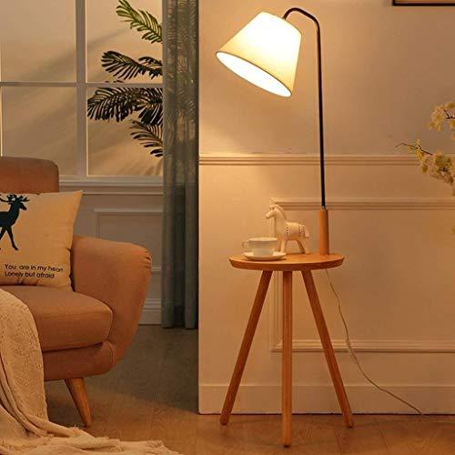 BINGFANG-W Dormitorio Los estantes de madera maciza llevado Lámpara de piso, sala de estar lámpara de cabecera creativo nórdica lámpara de pie, de luz vertical Europea, la luz del piso Eye-Cuidado Ver