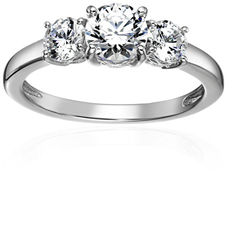Amazon Collection Platinum-Plated Sterling Silver Round 3-Stone Ring made with Swarovski Zirconia (2 cttw), Size 9