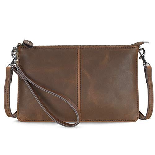 Befen Leder-Clutch, Geldbörse, kleine Crossbody-Tasche für Damen, (Crazy Horse Leder braun), Small
