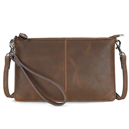 Befen Vintage Brown Crazy Horse Leather Wristlet Clutch Wallet Purse Small Crossbody Bag for Women(Brown - Crazy Horse Leather)