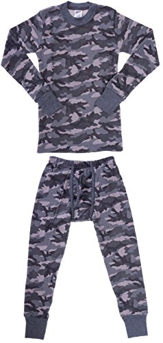 Platinum Junior Boy's Camouflage 2 Piece Thermal Long Sleeve and Pant Underwear Set (Grey, 14)