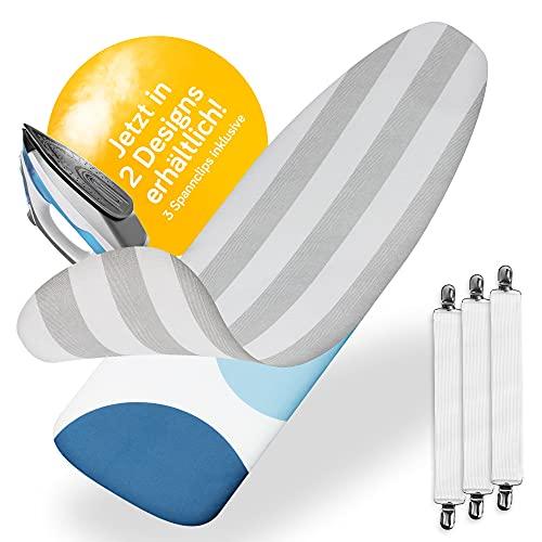 Yellocean - Funda para tabla de planchar de 120 x 40 para plancha de vapor con acolchado cómodo de 3 capas I Funda moderna con goma elástica (gris y blanco)