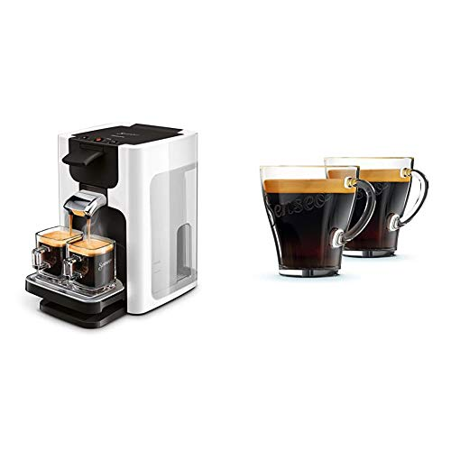 Philips Senseo HD7865/00 Quadrante Kaffeepadmaschine, XL-Wassertank weiß & CA6510/00 Kaffeegläser, 2 Stück