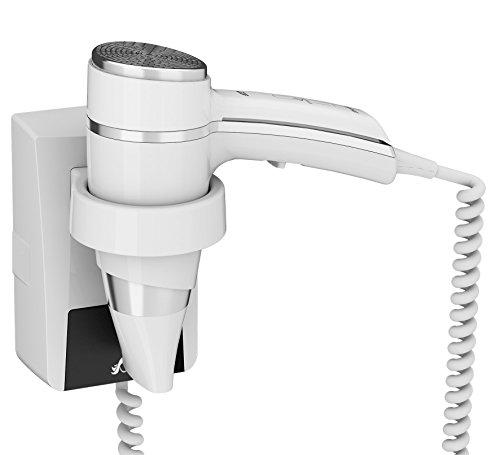 JVD - Sèche-cheveux Brittony Blanc avec Support Mural et Interrupteur - Qualité Hôtelière