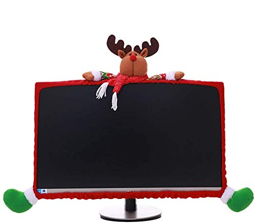 SUSHAFEN 1 Pack Christmas Computer Monitor Border Cover TV Monitor Cover Elastic Laptop Computer Cover for Xmas Home Office Computer Decoration-Elk