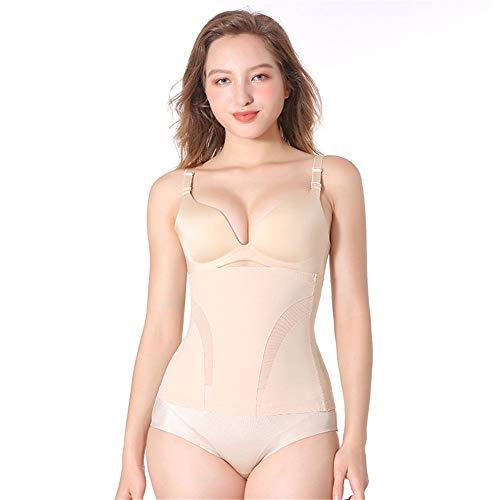LFANH Body para mujer, color sólido, talla grande, cómodo, corsé de vientre, transpirable, para deportes, yoga, fitness, color carne, L