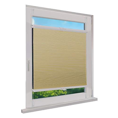 Fensterdecor Klemmfix Thermo Waben-Plissee, Doppel-Plissee mit Spannfeder, Honigwaben-Plissee ohne Bohren in Creme, lichtundurchlässig und Blickdicht, 65 x 130 cm