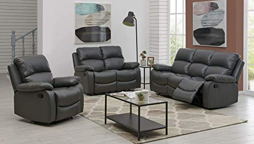 Bravich LUXURY Grey Gray Bonded Leather Recliner 1+2+3 Sofa Set Seater Reclining Sofa Suite Settee Couch Lounge Home Lounge Armrest Footrest