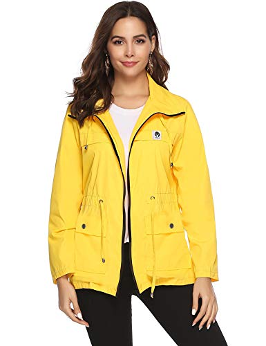Impermeable mujer amarillo cortaviento e impermeable