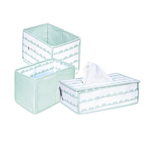 roba Pflege Organiser Set \'Happy Cloud\', 3tlg, Aufbewahrungsbox Set, 2 Boxen für Windeln & Wickelzubehör, 1 Dekobox für Feuchttücher, Babyzimmer Deko taupe / mint