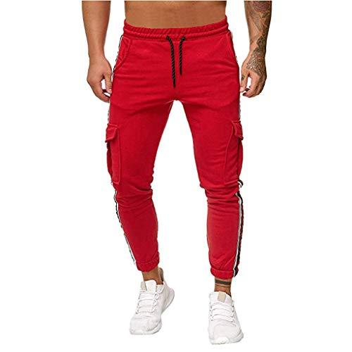 Aoogo Männer mit gestreiften Nähten Die Reine Arbeitshose Farben Overall BeiläUfige TaschenSport Arbeits BeiläUfige Hosen Hosen