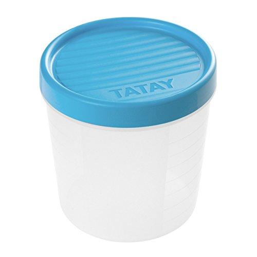 TATAY 1160900 - Contenedor de Alimentos hermético con Cierre a Rosca y medidor, transparente con tapa azul, Libre de BpA, 1 litro de capacidad, 12x12x12.5 cm