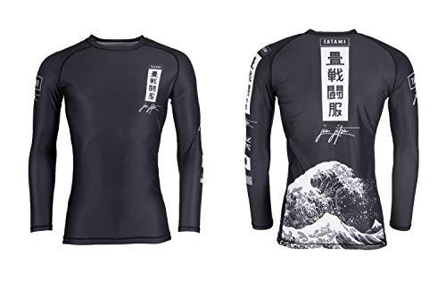 Tatami Herren Rashguard Kanagawa BJJ MMA, langärmelig, Schwarz Small Schwarz