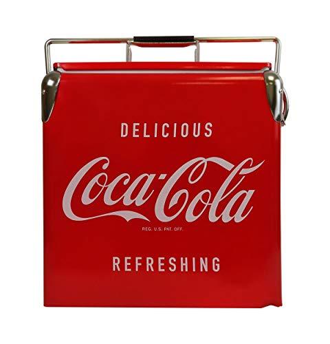 Coca Cola Koolatron CCVIC-13 - Cassapanca portatile per ghiaccio vintage con apribottiglie (14 quart 13 litri), colore: Rosso