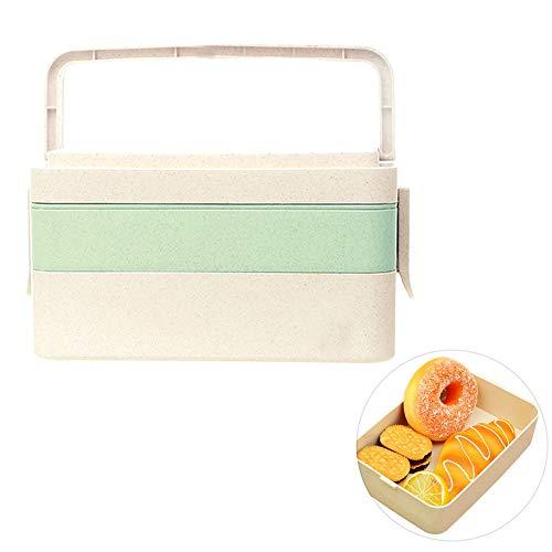 Local Makes A Comeback Lunchbox van tarwestro, Japans servies, meerlaags, voor studenten, sushi-box, groen, 3 lagen