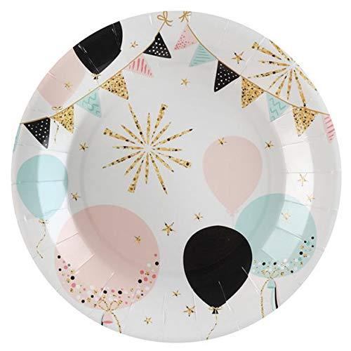 Chal - 10 Assiettes en carton Paillettes pastel et or