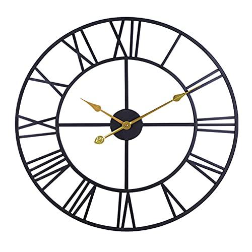 Reloj de pared, 24 ', redondo de gran tamaño, estilo antiguo con números romanos, movimiento de cuarzo silencioso, reloj de pared para decoración del hogar, reloj analógico de metal negro, (negro)