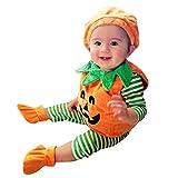 Vestito Completo Bambino Ragazze Costume, 3Pcs: Pagliaccetto + Cappello + Scarpe a Halloween Zucca Stampato, Idee Regalo per Bambini Bambina Neonata Neonato Festa di Famiglia