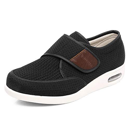 B/H Unisexe Orteil Ouvert éLargissement RéGlable,Chaussures pour Pieds diabétiques Printemps et été, Sandales lâches réglables-Noir_47,Auto-AdhéSive Pantoufles AntidéRapant
