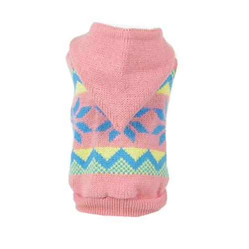 CWYPWDY Pet kleding hondenkleding puppy wintersneeuwvlok patroon roze gebreide jas met capuchon