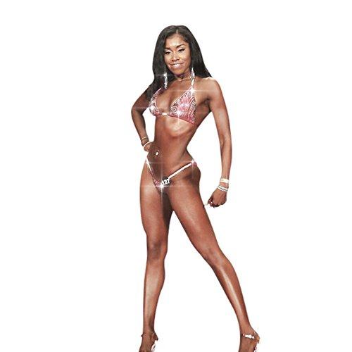 "Barely Visible Swimwear Bikini Competition Suit Hot Pink with Stunning Rhinestone Design NPC Bikini (Xtra Small Hips 28""-31"", A/B)"