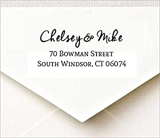 Customized Return Address Self Inking Rubber Stamp with Designer Font for Wedding Traxx 9013