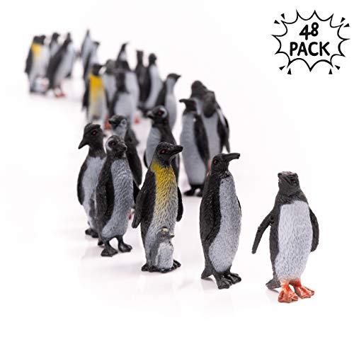 48 Pinguin Spielzeugfiguren in 8 verschiedenen Stilen - ideal für Kinderimagination & ideale Zoo-Party Mitgebsel Tierfiguren für Kinder