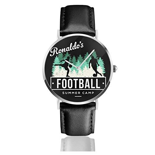 Ronaldos Unisex Business Casual Akademien Fußball Sommer Camp Uhren Quarz Leder Uhr mit schwarzem Lederband für Männer Frauen Junge Kollektion Geschenk