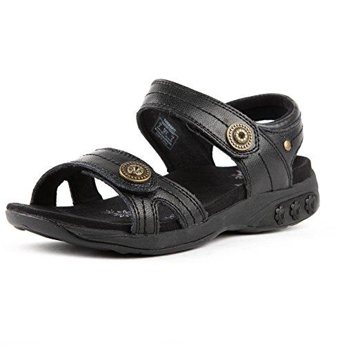 Therafit Shoe Women's Grace Leather Adjustable Walking Sandal 6 Black