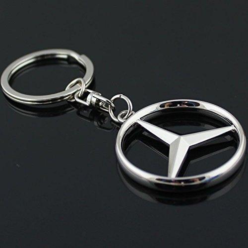 für Mercedes Benz Logo Schlüsselanhänger Edelstahl Chrom Schlüsselanhänger