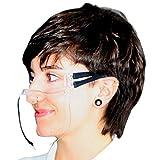 faceCare 2055 - Wieder-Verwendbarer Plastik Mund-Schutz, Waschbare Mund & Nasen Schutz-Maske aus Plexi-Glas mit Ohren-Bügel, Transparenter Gesichts-Schutz auch für Brillen-Träger mit Anti-Beschlag