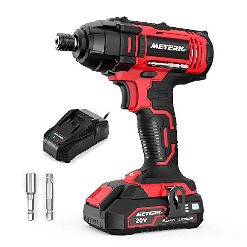Meterk Impact Driver, 1600In-lbs 20V MAX Impact Drill, 2000mAh Battery, 60-Min Fast Charger 2.4A, 1/4' All-metal Hex Chuck, 0-2800RPM Variable Speed