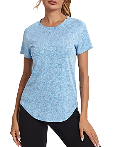 Wayleb Damen Sport T-Shirt Mesh Laufshirt Shortsleeve Yoga Tops Kurzarm Fitness Blusen Atmungsaktiv Oberteile Gym Casual Shirt Himmelblau L