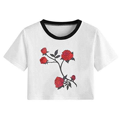 Women's Rose Printed Crop Tops Short Sleeve Casual Cute Short T-Shirts Blouse Tee (White, L)