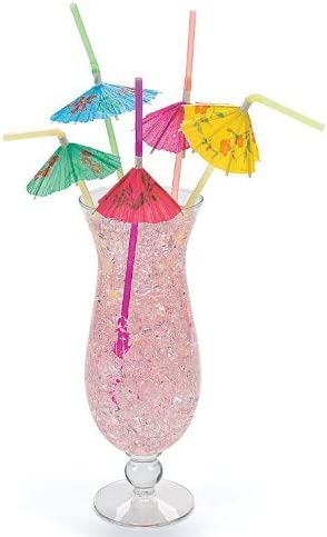 50pcs Colorful Cocktail Umbrella Drinking Straw Hawaiian Birthday Party Tool ONE