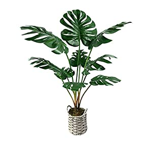 """Silk Flower Arrangements Artificial Monstera Deliciosa Fake Plants 34"""" Tropical Realistic Faux Plants ,Faux Palm Plants Tree Décor Indoor Outdoor Perfect Swiss Cheese Plants 9 Leaves for Home Office -1 Pack"""