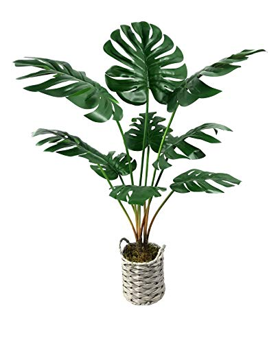 Artificial Monstera Deliciosa Fake Plants 34' Tropical Realistic Faux Plants ,Faux Palm Plants Tree Décor Indoor Outdoor Perfect Swiss Cheese Plants 9 Leaves for Home Office -1 Pack