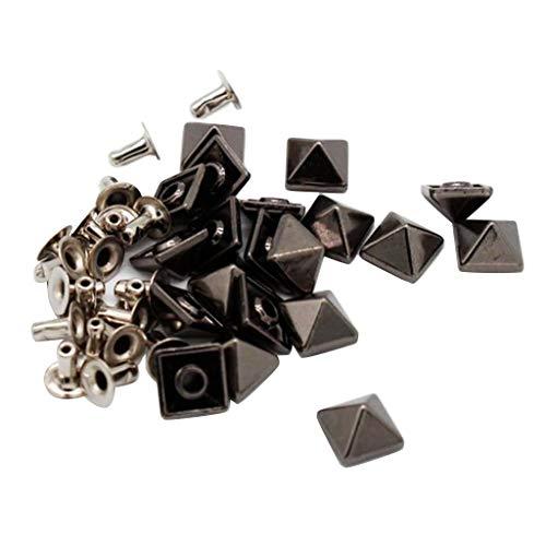 sharprepublic 20 Stück Pyramidennieten Nieten Hohlnieten Ziernieten Motivnieten Zierniete Motivniete Basteln DIY - Diamant-Schwarz