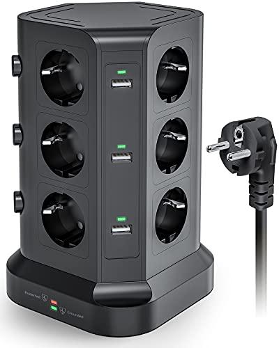 KOOSLA Regleta de 12 enchufes (4000 W/16 A), 6 enchufes USB con protección contra sobretensión, torre de enchufe conmutable individualmente, cable de 2 m, color negro