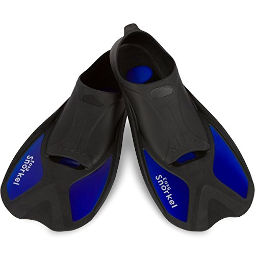 Easy Snorkel Short Blade Snorkeling Swim Fins for Adults - Snorkel Fins for Swimming or Training with Compact Design for Travel, Closed Heel Flippers for Perfect Fit & Comfort (Navy, Medium)