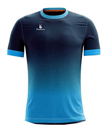 Triumph Men Soccer Jersey Quick Dry Half Sleeve Football Jerseys for Men's Printed Soccer Football Sports Team T-Shirts for Boys Player Polyester Sportswear Football T Shirts Size L SkyBlue