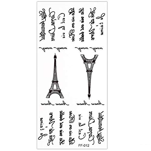 Justfox – Tatuaggio temporaneo Torre Eiffel Carpe Diem Design Temporary Klebetattoo Corpo Arte