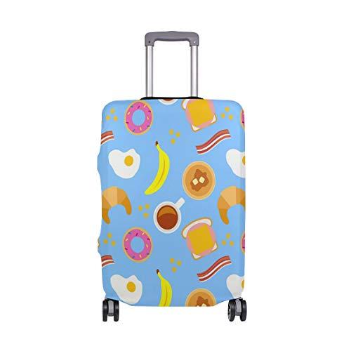 Alinlo Reisegepäckabdeckung, süßes Frühstück, Ei, Banane, Donut-Muster, Gepäck, Koffer, Reiseschutz, passend für 45,7-81 cm