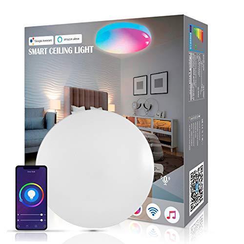 Smart LED Deckenleuchte 18W 1800LM Wifi Alexa Dimmbar LED Deckenlampe, RGB Farbwechsel Lampe für Kinderzimmer, Wohnzimmer, Schlafzimmer, Kompatibel mit Alexa Google Home, 2700-6500K
