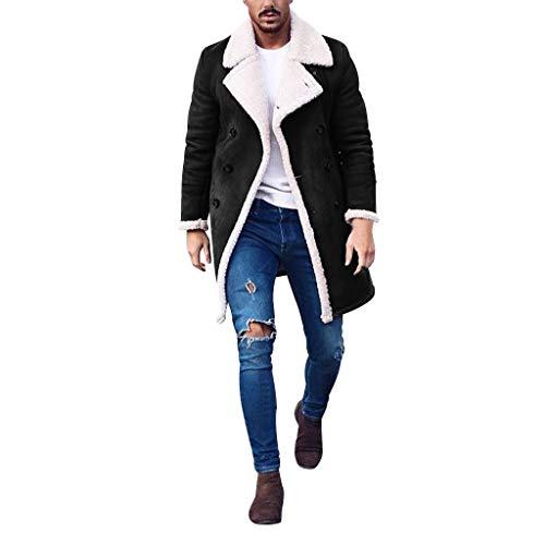 iYYVV Mens Wool Jacket Warm Winter Trench Long Outwear Button Lapel Overcoat Fleece Coats Black