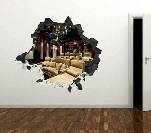 Yxsnow 3D Pegatinas De Pared Cine Blanco Machacado Extraíble Agujero En La Pared Vinilo Pegatinas Vista De Efecto Adhesivos De Pared Decoración Hogareña