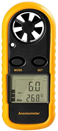 Instrumento de velocidad del viento Anemómetro, anemómetro digital de bolsillo con pantalla LCD para medir la velocidad del viento, la temperatura y el frío del viento (amarillo + negro) aparato de ex
